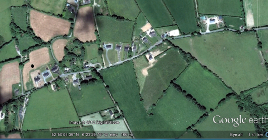 Preban Graveyard & St Aidan's Holy Well (taken fro Google earth)