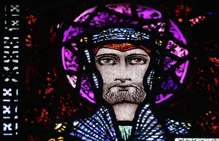 St Féichín . Stain glass by Harry Clarke (http://www.harryclarke.net/images/ballinrobe_mayo/fursey_and_fechin/index.html)