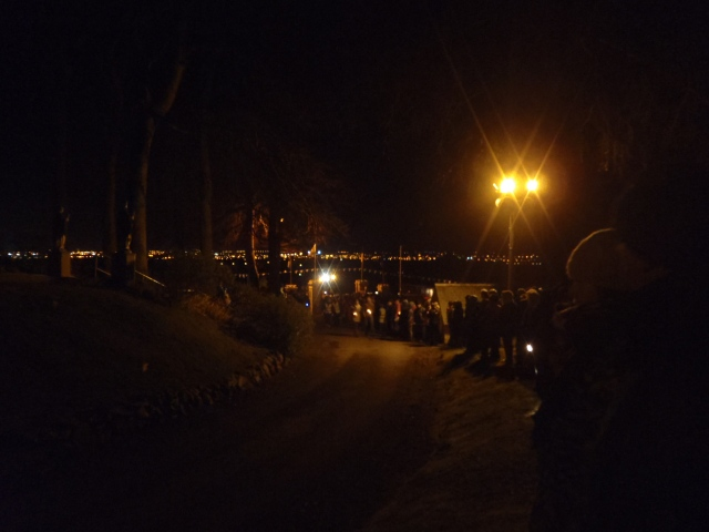 Pilgrims at the end of the Torch light procession