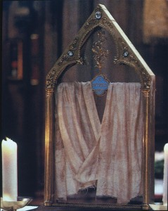 The relic of the Virgins nightgown at Chatres Cathredral (image takenhttp://sites.tufts.edu/textilerelics/2011/02/08/marian-relics/)