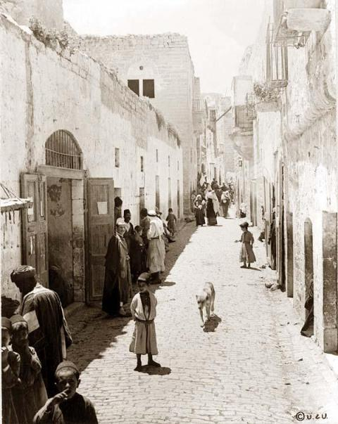 The main street leading from the Church of Nativity, Bethlehem. It was created in 1880 (http://www.old-picture.com/american-adventure/Bethlehem-Street.htm)