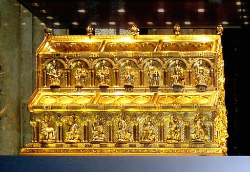 The reliquary of the Three Magi at Cologne Cathedral (image taken http://en.wikipedia.org/wiki/File:Cologne_Cathedral_Shrine_of_Magi.jpg)