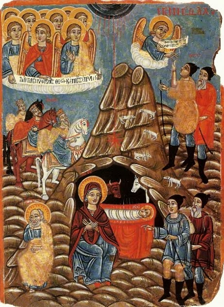 Nativity by Cypriot folk painter Parthenios  (image(1790(?)-1848(?)(image taken http://www.johnsanidopoulos.com/2012/12/two-cypriot-icons-of-nativity-of-christ.html)