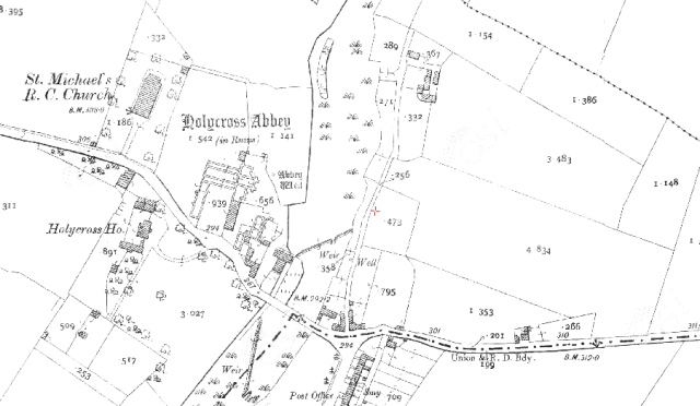 3rd ed 6inch Ordanance Survey Map showing location of Abbey Well
