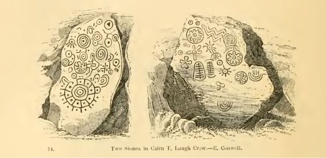 Antiquarian sketch of decoration backstone cairn T