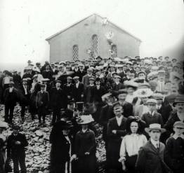 Pilgrims on the summit of Croagh Patrick circa 1910. Image courtesy of the Irish Capuchin Provincial Archives.