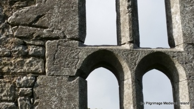 Interlace mason's marks on window at St Mary's Church