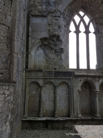Carved stones located above triple sedilia at Askeaton Friary.