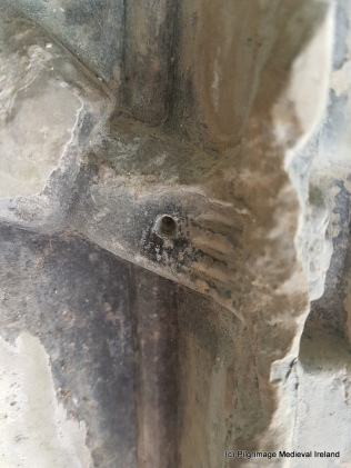 Stigmata in the hand St Francis in the clositer of Askeaton Friary.