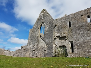 Exterior wall of west gable of the church and chapter house at Askeaton friary.