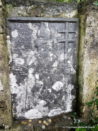 Plaque of St Patrick dating to 1688 at Tobar Phadraig Monivea